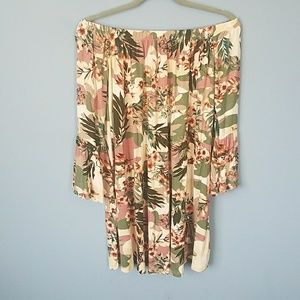 Summery fun floral and CAMO off the shoulder dress